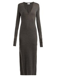 Raey Deep V Fine Rib Cashmere Dress Charcoal