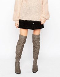 Aldo Chiaverni Leather Flat Over The Knee Boots Grey Nubuck