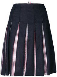 Thom Browne Tricolour Lined Pleated Skirt Blue