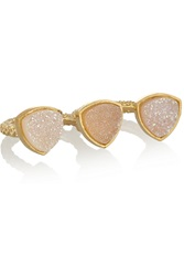 Dara Ettinger Mimi Gold Plated Druzy Two Finger Ring Metallic