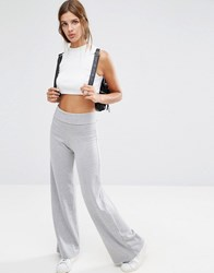 Asos Lounge Foldover Flare Trousers Grey Marl