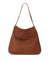 Prada Suede Doubled Flap Top Medium Hobo Bag