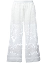 Just Cavalli Open Embroidery Cropped Trousers White