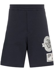 Alexander Mcqueen Skull Patch Cotton Track Shorts Blue
