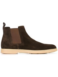 Santoni Suede Rubber Sole Ankle Boots Brown
