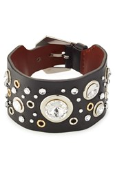 Alexander Mcqueen Crystal Embellished Leather Cuff Black
