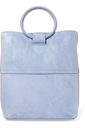 Theory Hoop Mini Suede Tote Light Blue