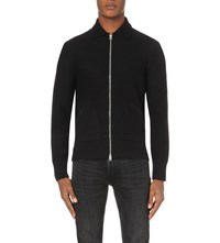 Tom Ford Mcqueen Suede Trim Knitted Cardigan Black