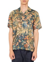 Dries Van Noten Carlton Floral Print Short Sleeve Hawaiian Shirt Dark Green