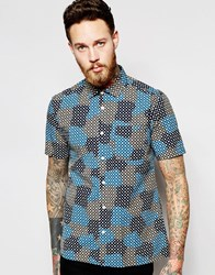 Ymc Shirt With Spot Cloud Print Short Sleeves Blue