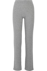 Theory Goshun Ribbed Cashmere Blend Straight Leg Pants Gray