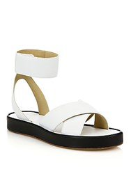 Rag And Bone Venus Leather Ankle Cuff Sandals White