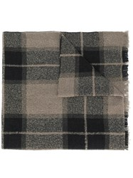 Rick Owens Checked Printed Scarf Brown