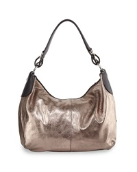 Neiman Marcus Metallic Equestrian Hobo Bag Pewter Black