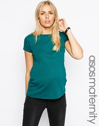 Asos Maternity T Shirt With Crew Neck And Cap Sleeve Green