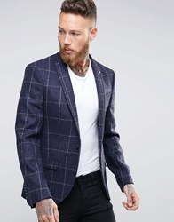 Noose And Monkey Woven In England Window Pane Check Blazer In Skinny Fit Navy