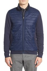 Calibrate Quilted Mixed Media Jacket Blue
