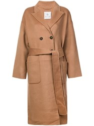 Anine Bing Belted Double Breasted Coat Neutrals