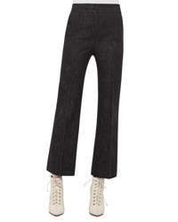 Akris Cara Cropped Full Leg Denim Pants Black