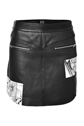 Mcq By Alexander Mcqueen Leather Mini Skirt With Manga Print