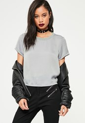 Missguided Grey Crushed Satin T Shirt