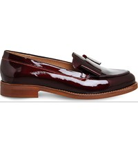 Office Present Bow Patent Leather Loafers Burgundy Patent