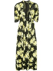 Proenza Schouler Splatter Floral Short Sleeve Tie Dress Black