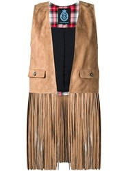 Guild Prime Fringed Waistcoat Brown