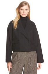 Pink Tartan Herringbone Wool Blend Crop Jacket Black