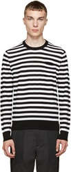 Dolce And Gabbana Black And White Striped Wool Sweater