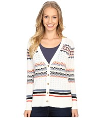 Pendleton Stripe Cardigan Ivory Multi Women's Sweater Bone
