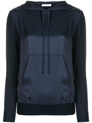 Max Mara Contrasting Front Panel Hoodie Blue
