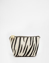 Asos Leather And Pony Make Up Bag Black And White Multi