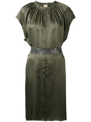 Nude Short Sleeve Belted Dress Women Viscose 38 Green