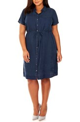 Rebel Wilson X Angels Plus Size Women's Chambray Button Up Shirtdress Dark Chambray
