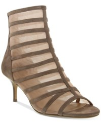 Nina Originals Chance Open Toe Mesh Booties Women's Shoes Tan Nude
