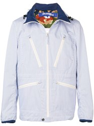 Junya Watanabe Man Hooded Striped Jacket Blue