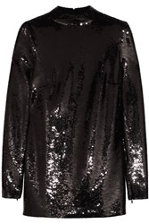 Tom Ford Sequined Stretch Chiffon Tunic Black