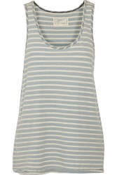 Current Elliott The Weekend Striped Cotton Tank Blue