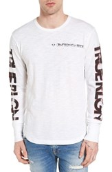 True Religion Men's Brand Jeans Retro Graphic Long Sleeve T Shirt White