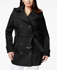 Calvin Klein Plus Size Double Breasted Trench Coat Black