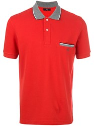 Fay Contrast Collar Polo Shirt Red