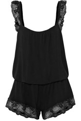 Eberjey Noor The Primped Lace Trimmed Stretch Modal Jersey Playsuit Black