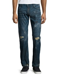 Robin's Jean Paint Splatter And Destroyed Denim Jeans Navy