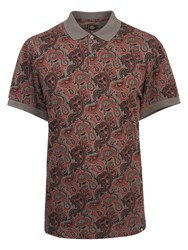Pretty Green Turner Paisley Polo Shirt Charcoal