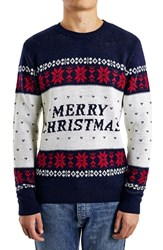 Men's Topman Merry Christmas Jacquard Crewneck Sweater