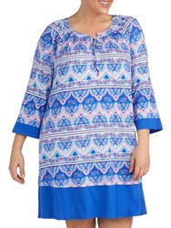 Ellen Tracy Printed Three Quarter Sleeve Sleep Dress Blue Multi