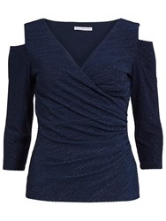Gina Bacconi 3D Metallic Stripe Knitted Top Dark Blue