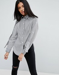 Asos Mix Stripe Shirt With Epaulette Detail Black White Multi