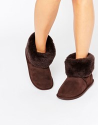 Just Sheepskin Roll Over Slipper Boots Chocolate Brown